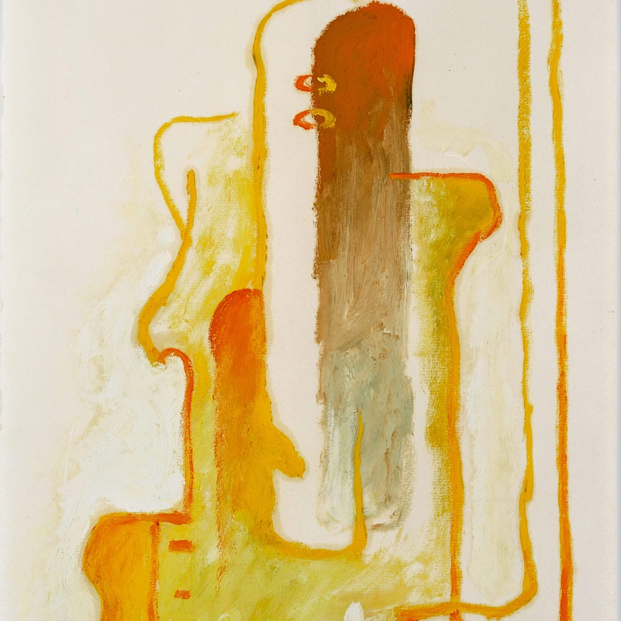 Abstract oil painting on paper with red, orange, yellow, and tan paint