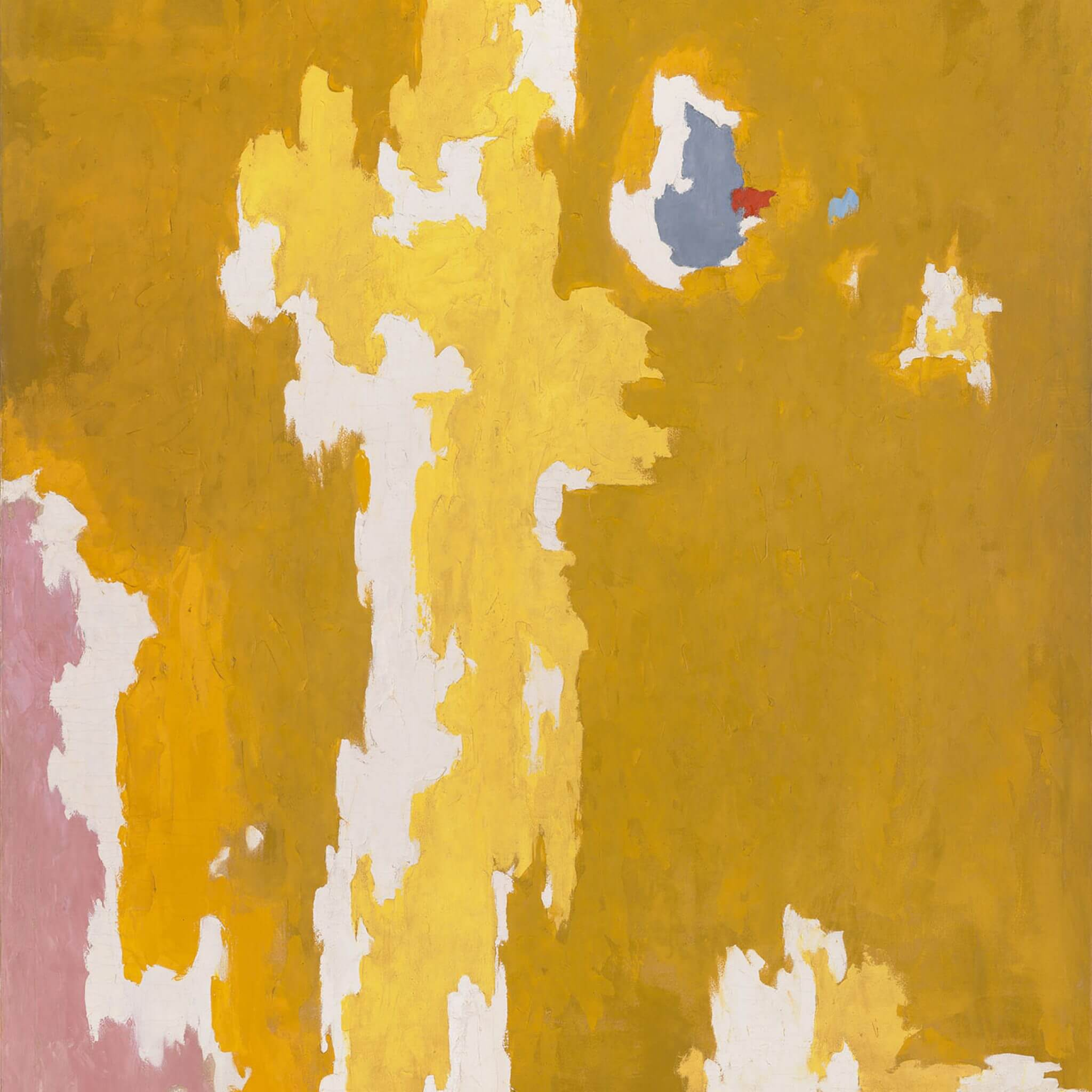 Abstract oil painting with yellow, gold, pink, bluish gray, and white paint and a small spot of red