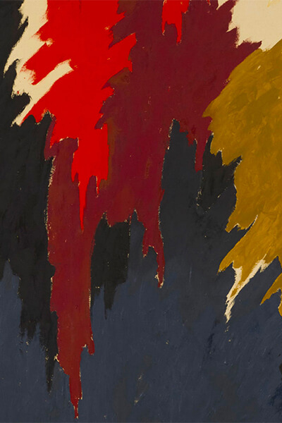 Abstract oil painting with dark blue, black, maroon, gold, red, and tan paint