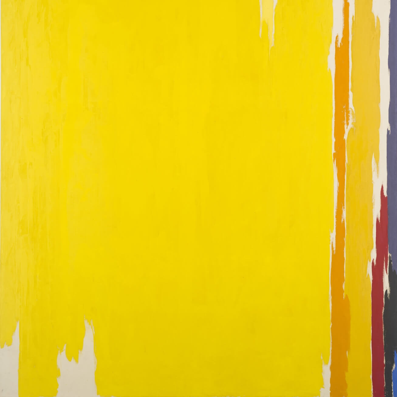 Large yellow abstract painting with small streaks of orange, red, purple and white on one edge