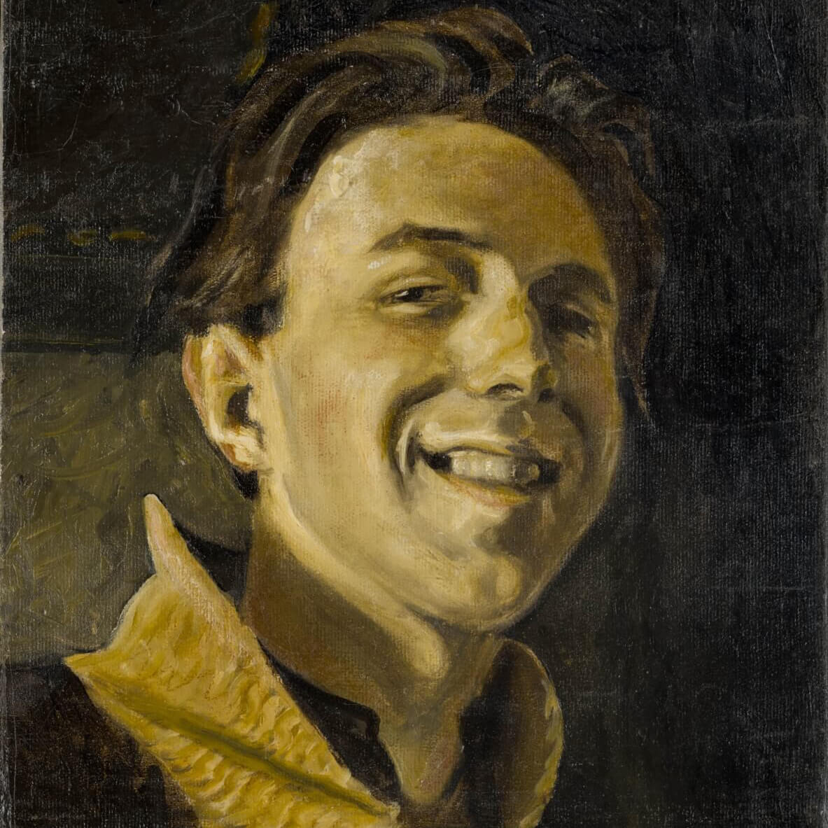Self portrait oil on canvas painting of Clyfford Still at age 19 where he is smiling