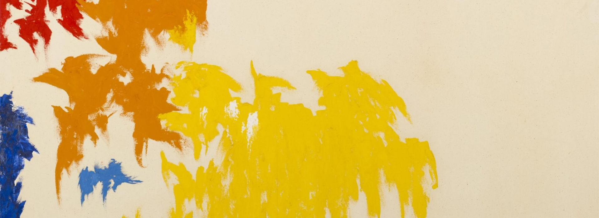 Detailed image of a colorful abstract painting by Clyfford Still with yellow, orange, red, light blue, and dark blue paint and bare canvas